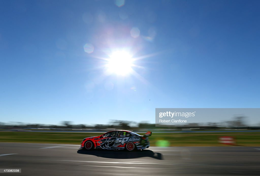 Garth Tander drives the Holden Racing Team Holden during practice for the V8 Supercars Winton SuperSprint at Winton Motor Raceway on May 15 2015 in...