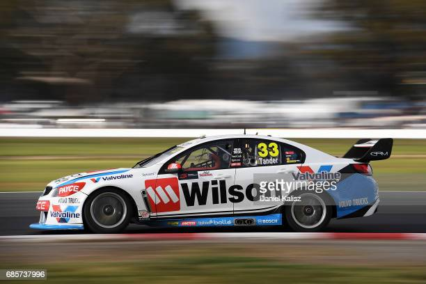 Garth Tander drives the Wilson Security Racing GRM Holden Commodore VF during qualifying for race 9 for the Winton SuperSprint which is part of the...