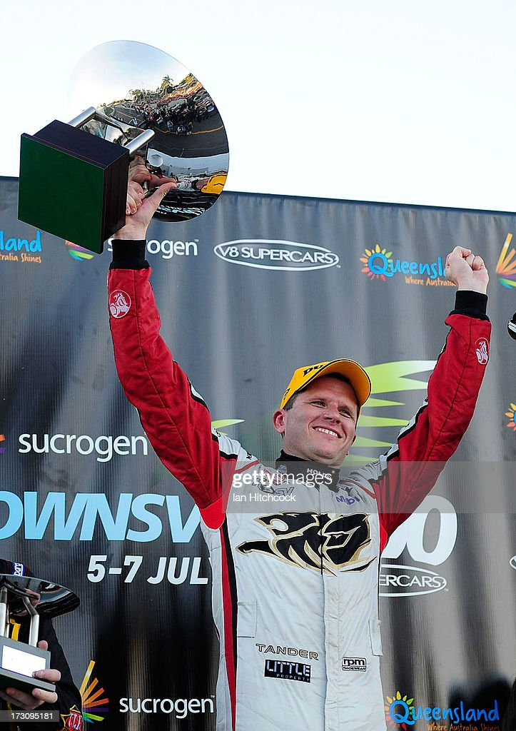 Garth Tander who drives the #2 Holden Racing Team Holden celebrates after winning race 21 of the Townsville 400, which is round seven of the V8 Supercar Championship Series at Reid Park on July 7, 2013 in Townsville, Australia.
