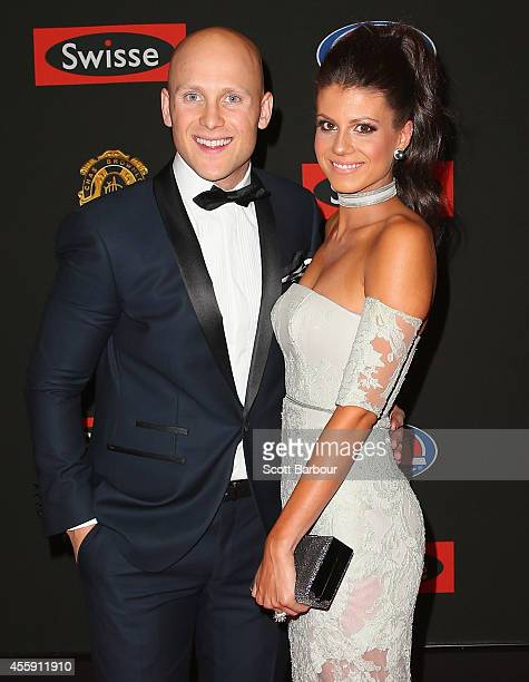 Gary Ablett of the Gold Coast Suns and his partner Jordan Papalia attend the 2014 Brownlow Medal at Crown Palladium on September 22 2014 in Melbourne...