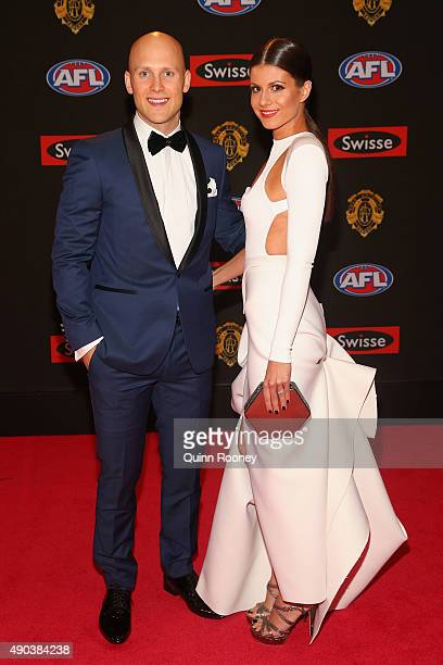 Gary Ablett of the Suns and his partner Jordan Paplia arrive at the 2015 Brownlow Medal at Crown Palladium on September 28 2015 in Melbourne Australia