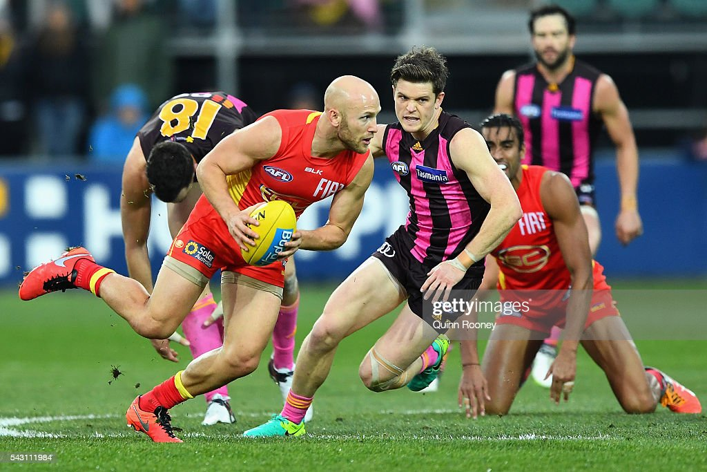 Gary Ablett of the Suns breaks free of the centre during the round 14 AFL match between the Hawthorn Hawks and the Gold Coast Suns at Aurora Stadium on June 26, 2016 in Launceston, Australia.