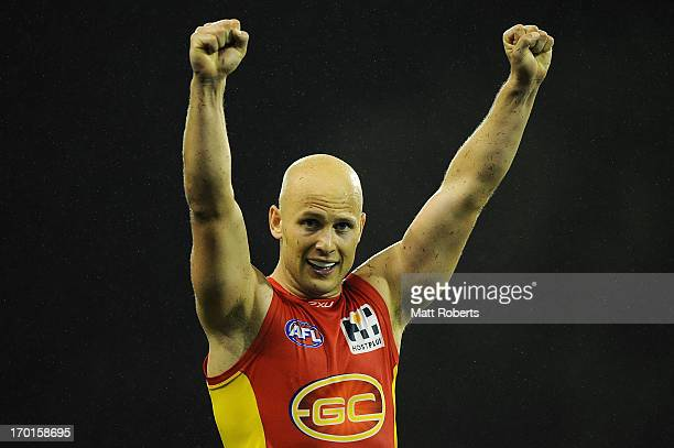 Gary Ablett of the Suns celebrates victory during the round 11 AFL match between the Gold Coast Suns and the North Melbourne Kangaroos at Metricon...