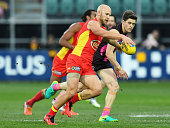 Gary Ablett of the Suns kicks during the round 14 AFL match between the Hawthorn Hawks and the Gold Coast Suns at Aurora Stadium on June 26 2016 in...