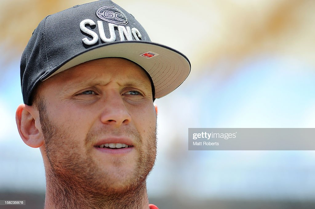 <a gi-track='captionPersonalityLinkClicked' href=/galleries/search?phrase=Gary+Ablett&family=editorial&specificpeople=206196 ng-click='$event.stopPropagation()'>Gary Ablett</a> of the Suns looks on during a UFC media session with the AFL Gold Coast Suns at Metricon Stadium on December 12, 2012 on the Gold Coast, Australia.