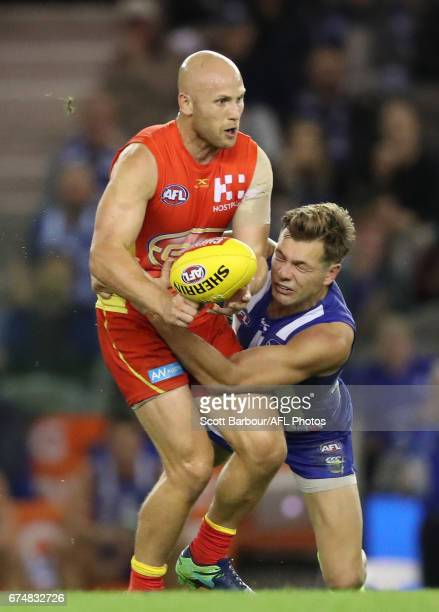 Gary Ablett of the Suns runs with the ball during the round six AFL match between the North Melbourne Kangaroos and the Gold Coast Suns at Etihad...
