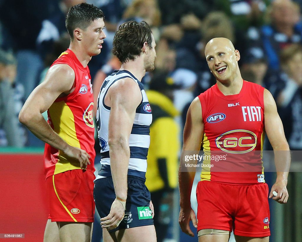 Gary Ablett of the Suns (R) speaks to Patrick Dangerfield of the Cats after their defeat during the round six AFL match between the Geelong Cats and the Gold Coast Suns at Simonds Stadium on April 30, 2016 in Geelong, Australia.