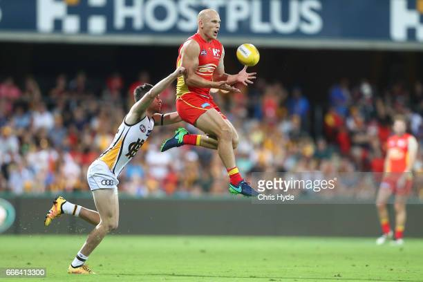 Gary Ablett of the Suns takes a mark during the round three AFL match between the Gold Coast Suns and the Hawthorn Hawks at Metricon Stadium on April...