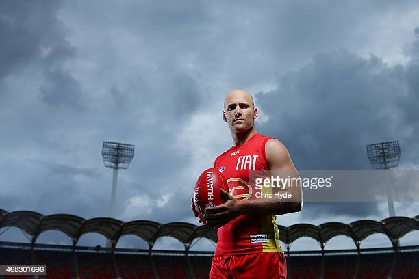 Gary Ablett poses during a Gold Coast Suns AFL portrait session at Metricon Stadium on March 31 2015 in Gold Coast Australia
