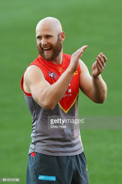 Gary Ablett smiles during a Gold Coast Suns AFL training session at Metricon Stadium on August 15 2017 in Gold Coast Australia