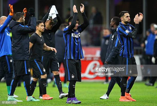 Gary Alexis Medel and Danilo D Ambrosio of FC Internazionale Milano salute the crowd at the end of the TIM Cup match between FC Internazionale Milano...