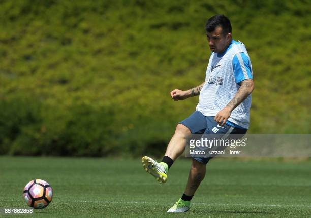 Gary Alexis Medel of FC Internazionale in action during the FC Internazionale training session at the club's training ground Suning Training Center...