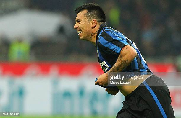 Gary Alexis Medel of FC Internazionale Milano celebrates after scoring the opening goal during the Serie A match between FC Internazionale Milano and...