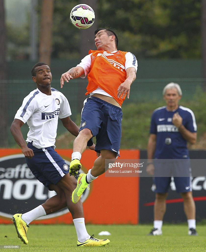 Gary Alexis Medel of FC Internazionale Milano controls the ball during FC Internazionale Training Session at the club's training ground on August 29, 2014 in Appiano Gentile Como, Italy.