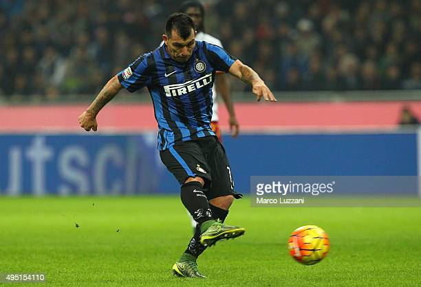 Gary Alexis Medel of FC Internazionale Milano scores the opening goal during the Serie A match between FC Internazionale Milano and AS Roma at Stadio...