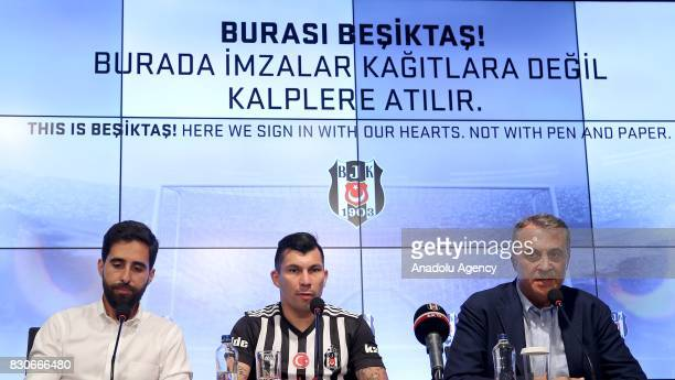 Gary Alexis Medel Soto and Chairman of Besiktas Fikret Orman attend press conference after signing a contract for Besiktas for 3 years at Vodafone...