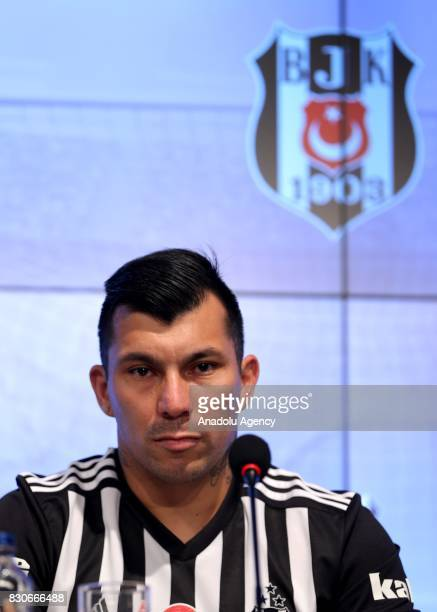 Gary Alexis Medel Soto attends press conference after signing a contract for Besiktas for 3 years at Vodafone Park in Istanbul Turkey on August 12...