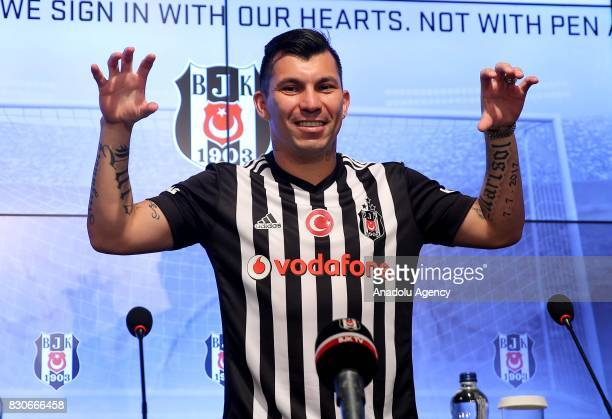 Gary Alexis Medel Soto gestures during press conference after signing a contract for Besiktas for 3 years at Vodafone Park in Istanbul Turkey on...