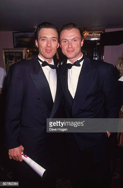 Gary and Martin Kemp of Spandau Ballet at the premiere of their first movie collaboration the gangster biopic 'The Krays' 1990