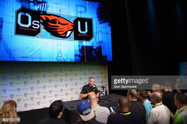 Gary Andersen head coach of the Oregon State Beavers addresses the media during the Pac12 Football Media Day on July 26 2017 at Hollywood Highland in...
