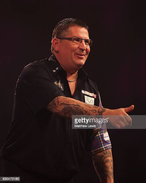 Gary Anderson of Great Britain celebrates his win against Andrew Gilding of Great Britain during day nine of the 2017 William Hill PDC World Darts...