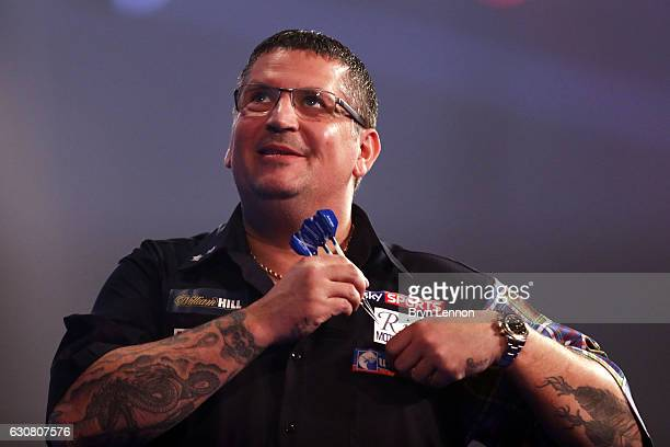 Gary Anderson of Great Britain looks on during the final of the 2017 William Hill PDC World Darts Championships at Alexandra Palace on January 2 2017...