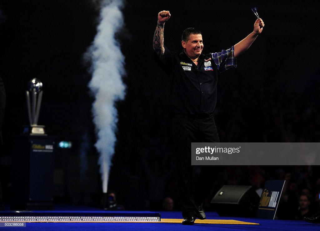 Gary Anderson of Scotland celebrates victory over Adrian Lewis of England in the final match during Day Fifteen of the 2016 William Hill PDC World Darts Championships at Alexandra Palace on January 3, 2016 in London, England.