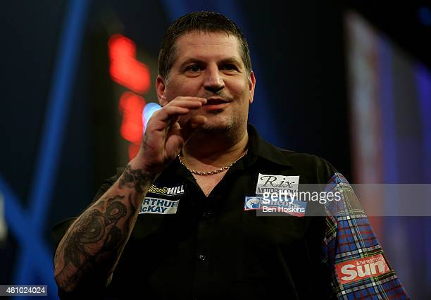 Gary Anderson of Scotland gestures during the final of the 2015 William Hill PDC World Darts Championships at Alexandra Palace on January 4 2015 in...