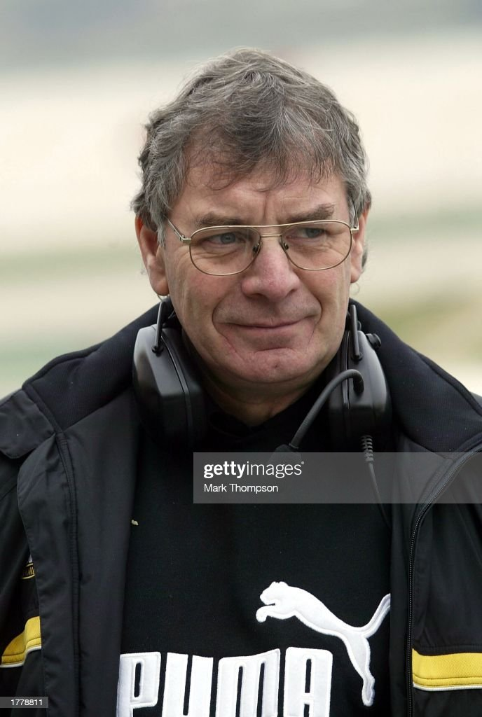 Gary Anderson technical director of the Jordan Formula One team during Formula One testing at the Circuit de Ricardo Tormo Valencia Spain on February...