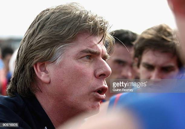 Gary Ayres the coach of Port Melbourne speaks to his palyers during the VFL 2nd Preliminary Final between Port Melbourne and the Northern Bullants at...