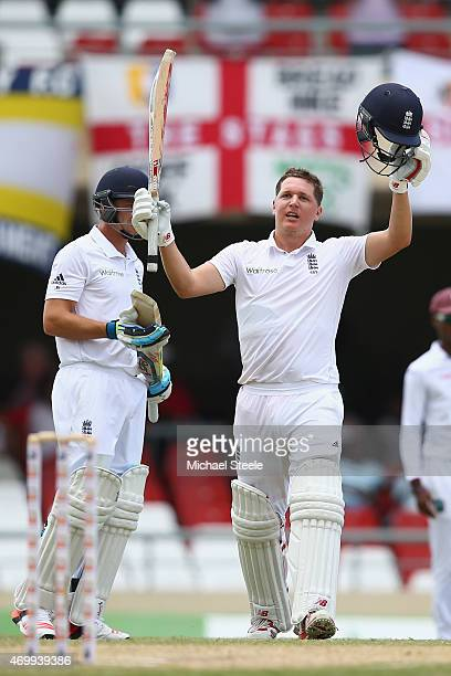 Gary Ballance celebrates reaching his century during day four of the 1st Test match between West Indies and England at the Sir Vivian Richards...