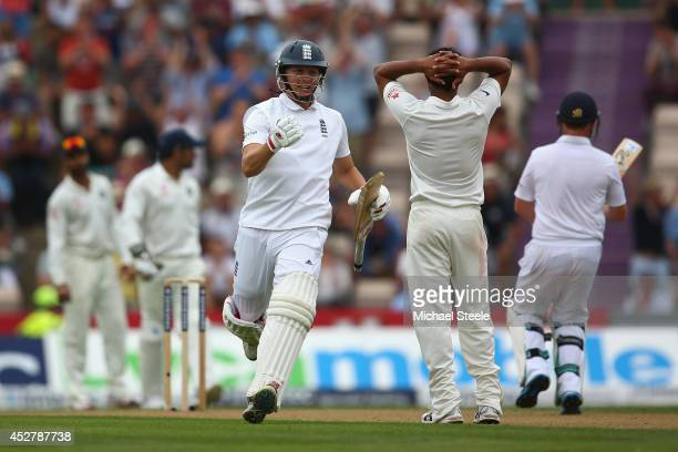 Gary Ballance of England celebrates reaching his century during day one of the 3rd Investec Test match between England and India at the Ageas Bowl on...