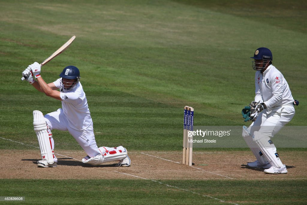 Gary Ballance of England hits a cover drive as wicketkeeper MS Dhoni of India looks on during day two of the 3rd Investec Test match between England and India at the Ageas Bowl on July 28, 2014 in Southampton, England.