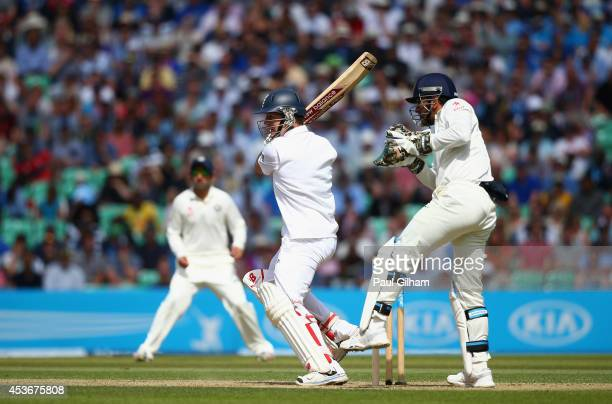 Gary Ballance of England hits out during day two of the 5th Investec Test match between England and India at The Kia Oval on August 16 2014 in London...