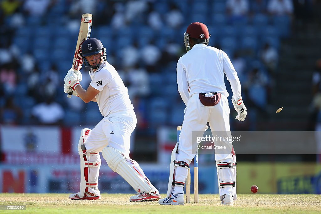 Gary Ballance of England is bowled for 77 runs by Marlon Samuels of West Indies during day three of the 2nd Test match between West Indies and England at the National Cricket Stadium in St George's on April 23, 2015 in Grenada, Grenada.