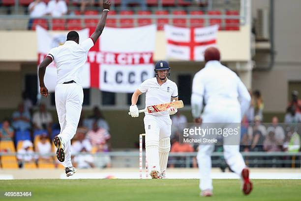 Gary Ballance of England is dismissed caught by Darren Bravo off the bowling of Jason Holder of West Indies during day one of the 1st Test match...