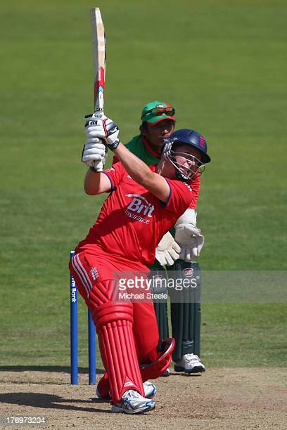 Gary Ballance of England Lions hits to the offside as wicketkeeper Anamal Haque of Bangladesh A looks on during the One Day International match...