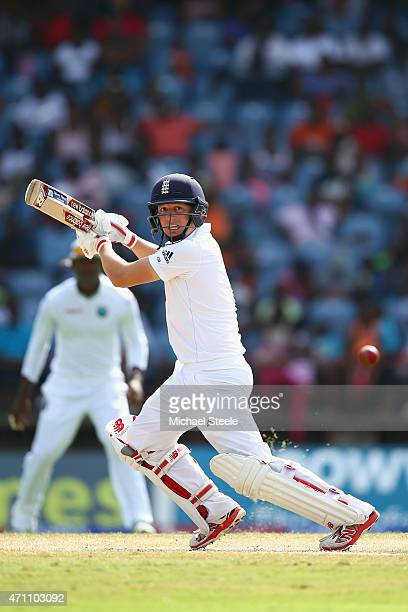 Gary Ballance of England plays behind point during day five of the 2nd Test match between West Indies and England at the National Cricket Stadium in...