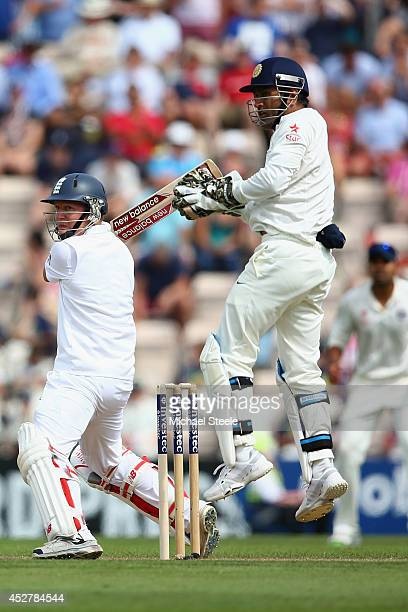Gary Ballance of England plays through the offside as wicketkeeper MS Dhoni of India looks on during day one of the 3rd Investec Test match between...