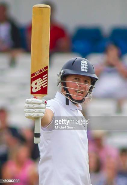 Gary Ballance of England raises his bat to celebrate a half century during the 2nd Investec Test Match day two between England and Sri Lanka at...