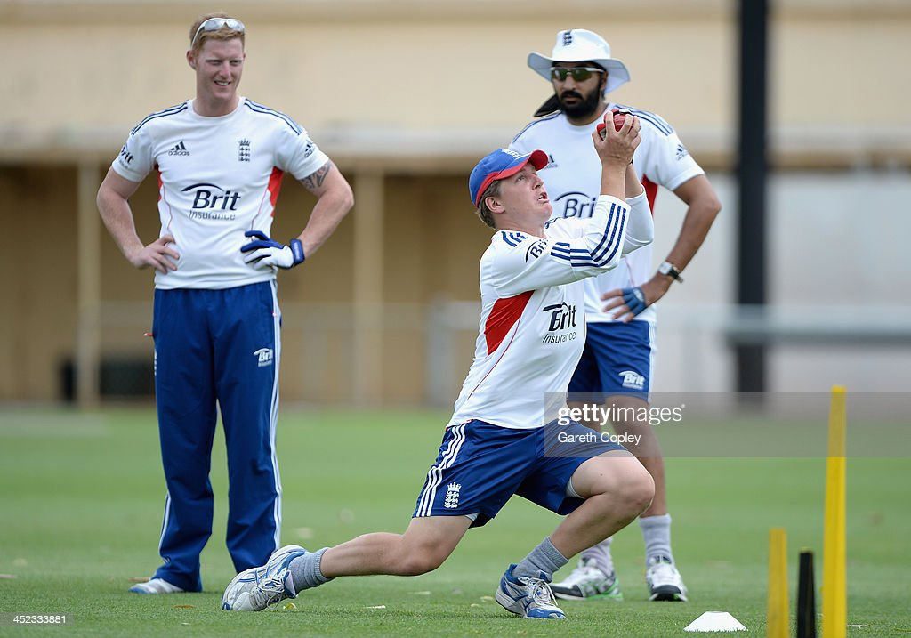 <a gi-track='captionPersonalityLinkClicked' href=/galleries/search?phrase=Gary+Ballance&family=editorial&specificpeople=7811120 ng-click='$event.stopPropagation()'>Gary Ballance</a> of England takes part a fielding sesson with <a gi-track='captionPersonalityLinkClicked' href=/galleries/search?phrase=Monty+Panesar&family=editorial&specificpeople=592881 ng-click='$event.stopPropagation()'>Monty Panesar</a> and <a gi-track='captionPersonalityLinkClicked' href=/galleries/search?phrase=Ben+Stokes&family=editorial&specificpeople=6688979 ng-click='$event.stopPropagation()'>Ben Stokes</a> during a nets session at Traeger Park on November 28, 2013 in Alice Springs, Australia.