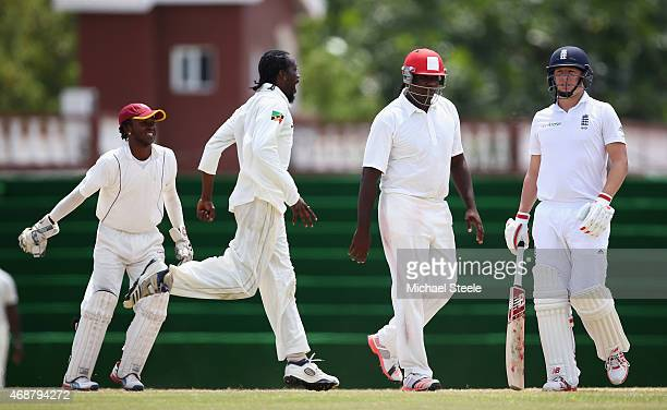 Gary Ballance of England walks after being caught by Steve Liburd off the bowling of Elvin Berridge of St Kitts during day two of the St Kitts and...