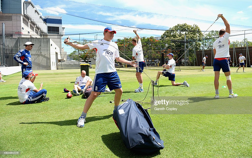 <a gi-track='captionPersonalityLinkClicked' href=/galleries/search?phrase=Gary+Ballance&family=editorial&specificpeople=7811120 ng-click='$event.stopPropagation()'>Gary Ballance</a> of England warms up ahead of an England nets session at The Gabba on November 19, 2013 in Brisbane, Australia.
