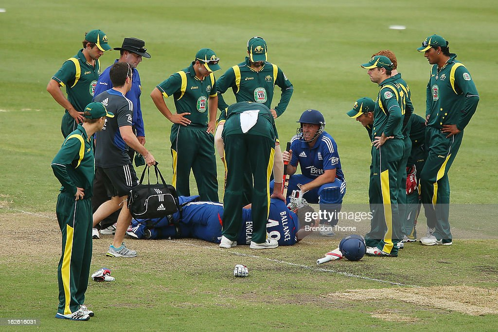 Gary Ballance of the Lions lies on the ground after being struck in the face during the International Tour match between Australia 'A' and the England Lions at Sydney Cricket Ground on February 25, 2013 in Sydney, Australia.