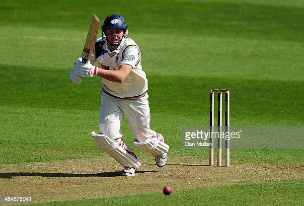 Gary Ballance of Yorkshire bats during day one of the LV County Championship Division One match at The County Ground on April 13 2014 in Taunton...