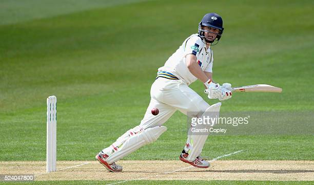 Gary Ballance of Yorkshire bats during day two of the Specsavers County Championship Division One match between Warwickshire and Yorkshire at...