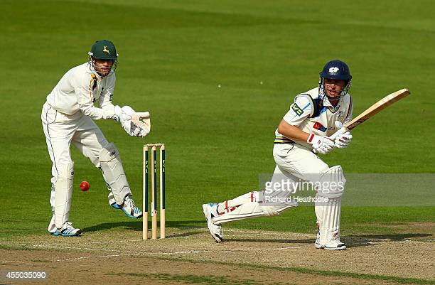 Gary Ballance of Yorkshire bats during the first day of the LV County Championship match between Nottinghamshire and Yorkshire at Trent Bridge on...
