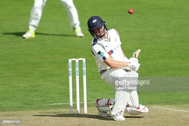 Gary Ballance of Yorkshire ducks under a delivery from Graham Onions of Durham during the Specsavers County Championship Division One match between...