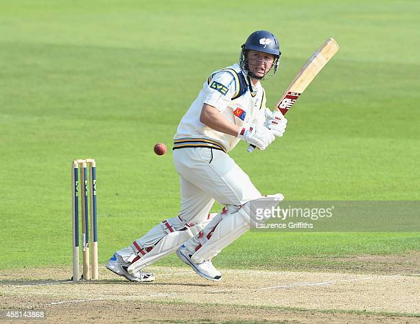 Gary Ballance of Yorkshire hits out during the LV County Championship match between Nottinghamshire and Yorkshire at Trent Bridge on September 10...