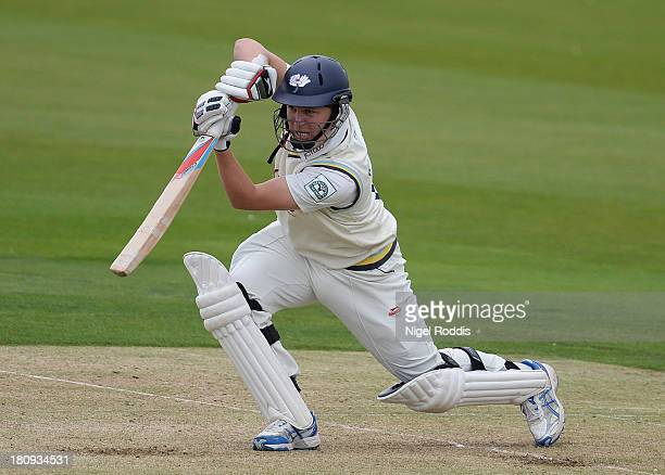 Gary Ballance of Yorkshire plays a shot during day two of the LV County Championship Division One match between Yorkshire and Middlesex at Headingley...